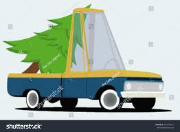 Funny Cartoon Pickup Truck Christmas Tree Stock Vector 167540651 ...