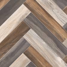 Multi Coloured Parquet Herringbone Design Cushion Vinyl Flooring