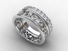 White sapphire ring filigree sapphire wedding band lace ring