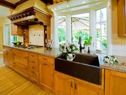 Kitchen Bay Window Over Sink by Awesome Copper Vent Hood Over Stove With Copper Farmhouse Sink And