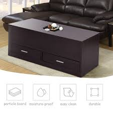 US 8499 Giantex Slide Top Coffee Table With Hidden Compartment And 2 Drawers Modern Wood Living Room Furniture HW56637in Coffee Tables From
