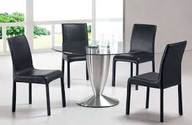 Dining Room Contemporary Black Sets With Round Glass Top Table