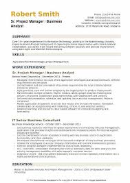 Sr Project Manager Business Analyst Resume Template