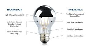 interior tips dimmable led filament silver tipped light bulb for