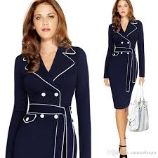 2018 Plus Size Office Ladies Formal Business Work Wear Dresses Knee Length With Belt Fall Spring Long Sleeve Bodycon Pencil