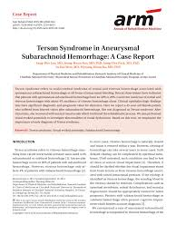 PDF Terson Syndrome In Aneurysmal