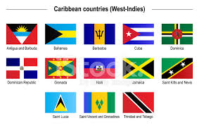Flags Caribbean Countries West Indies Stock Vector