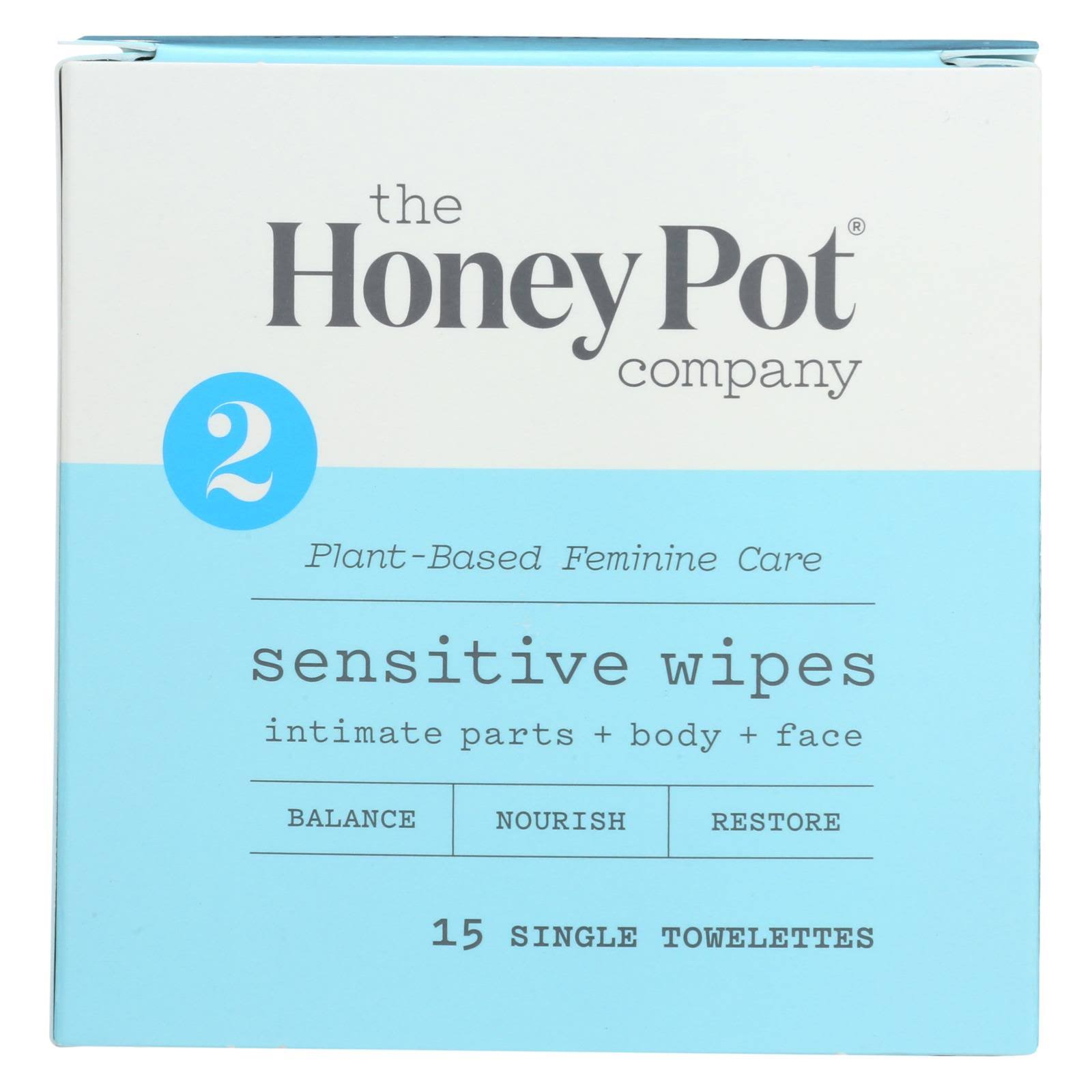 The Honey Pot Sensitive Feminine Wipes Travel 15 ct