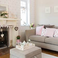 Country Living Room With Pretty Pink Prints