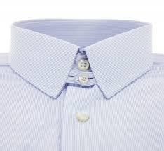 chemise popeline blanche à très fines rayures bleu ciel col