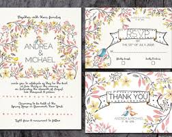 Whimsical Wedding Invitation Printable Floral Garden Flowers