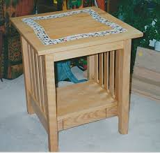 handmade tile top coffee table and end kinderling wood intended