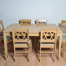 Mid Century Modern Bleached Wood Dining Table And Six Chairs
