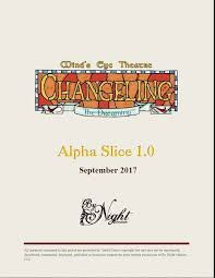 Minds Eye Theatre Changeling The Dreaming Alpha Slice Playtest Rules