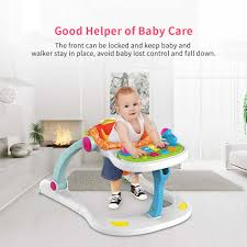 Baby 4 In 1 Activity Play Center Walker Seated Push Learning Walker Feeding  High Chair Music Toys With A Wide Extra-stable Base
