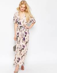 image 1 of asos pleated maxi dress in floral print wedding