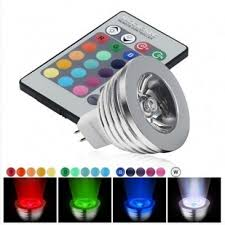 rgb 3 watt 12v mr16 multicolour led bulb with remote 35w equivalent