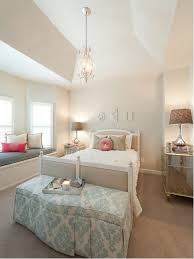 Shabby Chic Style Carpeted Bedroom Idea In DC Metro With Beige Walls
