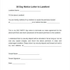 Landlord To Tenant 30 Day Notice To Vacate Letter Sample Best Sample