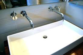 Double Faucet Trough Sink Vanity by Sinks Trough Bathroom Sink Faucet Three Faucets 2 Trough Sink