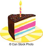 Slice of Layered Birthday Cake with Candle