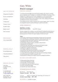 Branch Manager CV Sample Strong Leadership Skills Job Description