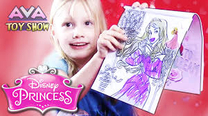 Disney Princess STICKERS And COLORING In A Colouring Book