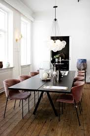 Modern European Dining Room With Bubble Chandelier Via Thou Swell Velvet Chair Chairs For