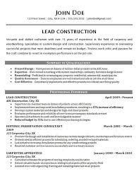 Construction Worker Resume Example Carpenter Supervisor