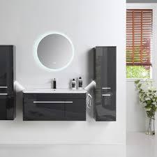 5 tlg badmöbel set 90cm schwarz led hochglanz