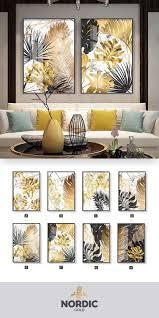 nordic tropical gold leaves abstrakte wandkunst poster kunst