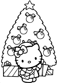 Hello Kitty And Tree Christmas Coloring Page