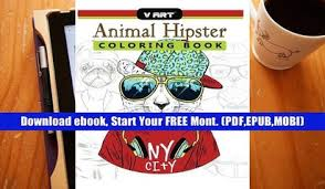 PDF Download Animal Hipster Coloring Book Pug Puppy Cat Dog Rabbit Fox And More In