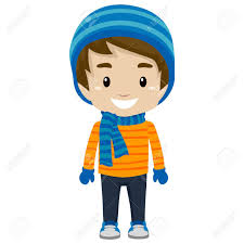 Illustration Little Boy Wearing Winter Clothes Royalty Free