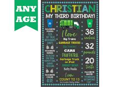 100 Garbage Truck Song 2nd Birthday Sign 3rd 4th 5th Birthday Etsy