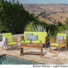 Carolina 4 piece Outdoor Acacia Sofa Set by Christopher Knight