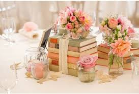 Offset The Stack Of Books Remove Lace Add A Bouquet Flowers On Top Include Mini Lanterns Or Small Vintage Candlesticks And Sprinkle Table