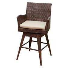 Braxton Wicker Swivel Patio Bar Stool with Cushion Multi Brown