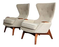 Vintage Mid Century Adrian Pearsall For Craft Associates Wing High Back  Chairs- A Pair