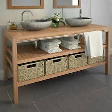 details zu vidaxl teak waschbeckenunterschrank waschtisch unterschrank badmöbel 2 4 körbe