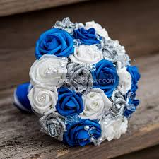 Royal Blue And Silver Wedding Bouquet With Crystals Glitter Roses Sapphire Horizon White Bridal Silk