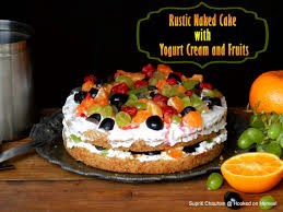 Rustic Naked Cake With Yoghurt Cream And Fruits