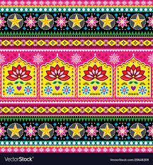 100 Truck Art Indian Truck Art Floral Seamless Folk Art Pattern Vector Image