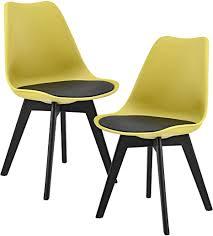 en casa 2er set design esszimmerstühle 83 x 48cm schwarz senffarben kunstleder stühle stuhl esszimmerstuhl esszimmer wohnzimmerstuhl küchenstuhl