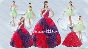 elegant ruffles multi color quinceanera dress and apple green