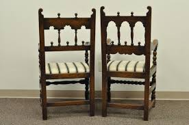 Set Of Eight Solid Carved Oak 1930s Jacobean Or Gothic Style Dining Room Chairs For Sale At 1stdibs