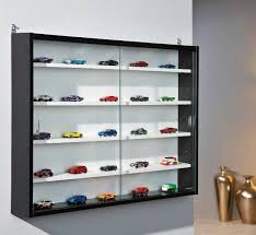 Glass Display Cabinet Laminated Black White Wood Wall Mounted Easy Self Assembly