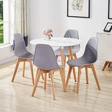 goldfan esstisch mit 4 stühlen rund esstisch aus holz matt küchentisch esszimmerstuhl aus holz küchenstuhl für wohnzimmer esszimmer küche weiß grau