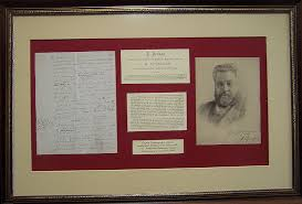 Spurgeon Note Matted And Framed