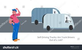 100 Truck Driver Job Selfdriving Autonomous Drived By Robot Stock Vector Royalty